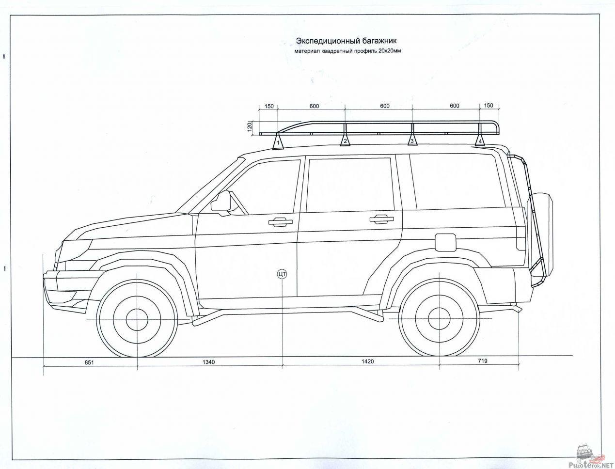 Как сделать экспедиционный багажник на уаз патриот чертежи